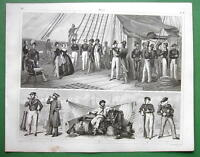 SHIP OF WAR Manning Officers Sailors Russian French - SUPERB 1844 Antique Print