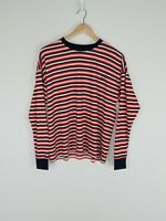 NWOT Silent Theory Top T Shirt Striped Long Sleeve Ringer Red White Navy Size 10