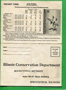 ILLINOIS 1945 Resident Hunting License W/ RW12 Duck Stamp - 635
