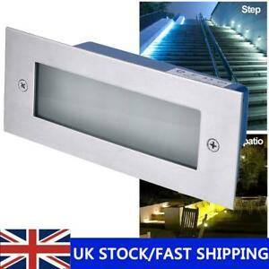 LED Wall Lamp Stainless Brick Light Sensor Garden Recessed Step Stair Lights UK