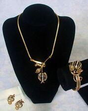 Crown Trifari Patent Pend Forbidden Fruit Full Parure Necklace Bracelet Earrings