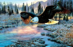 Eagle Dawn 1000 Pc Jigsaw Puzzle Cynthie Fisher Sunsout america forest river