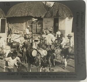 """VINTAGE STEREOVIEW """"WATER CARRIERS"""" BARRANQUILLA COLOMBIA SOUTH AMERICA"""