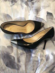 Giuseppe Zanotti Heels 39,black patent & dark silver toe