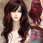 Fashion Long Curly Wavy Hair Wigs Black Wine Red Mix Ombre Cosplay Costume Wig
