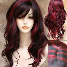 Long Curly Wavy Hair Wigs Black Wine Red Mix Ombre Cosplay Costume Wig/