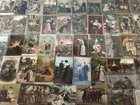 Big Lot of~Romantic~Antique~Vintage~ Postcards -Men Ladies-People-Romance-a709