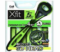 KAI Xfit Disposable 5-Blade Shaving Razor Holder & 4-Refills