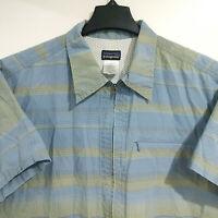 PATAGONIA Men's L Large Sideburn Short Sleeve Shirt Full Zip Blue Hiking Outdoor