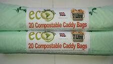 20 x 7L Caddy Liner Compostable Biodegradable Food Waste Kitchen Bin Bags