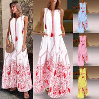 Summer Women Lady Beach Dress Fashion Boho Dress Sleeveless Printed Long Dresses