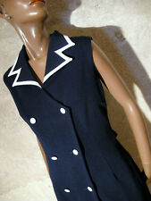 Vintage Chic Dress 1970 True Vtg Dress 70s Model Navy Dress 70er Vestido (40/42)