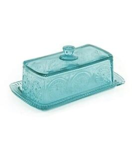 Pioneer Woman Adeline Glass Butter Dish - Teal. Brand New