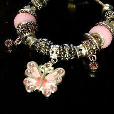 Unikat Armband Bettelarmband Charms Anhänger Schmetterling Silber Rosa Rose