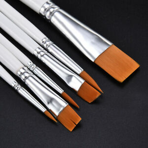 6X Art Painting Brushes Set Acrylic Oil Watercolor Artist Paint Brush Kit 6Sizes