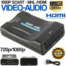 Péritel vers HDMI Convertisseur 1080P HD TV Vidéo Audio Adaptateur avec USB Câbl