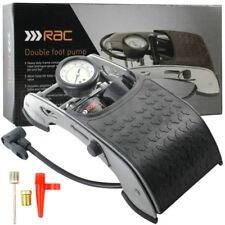 RAC Double Foot Pump Cylinder Tyre Inflator Wheel Heavy Duty Car Bike Van Air