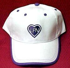 LPN Baseball Hat Embroidered Nursing Medical White Cap Purple Heart Students New