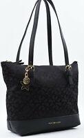 TOMMY HILFIGER Small Monogram Fabric Shoulder Bag, Handbag, Black