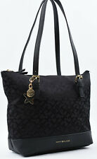 TOMMY HILFIGER Small Monogram Fabric Shoulder Bag, Handbag, Black