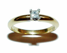 Fully Hallmarked 18ct Yellow Gold & Diamond Princess Cut Solitaire Ring (Size L)
