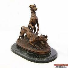 PJ Mene Bronze Statue Two English Setter Dogs Leaping Hunting Sculpture Marble