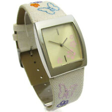 SALE! Ladies Pretty Floral Embroidered Strap Watch - cream. Gift Boxed Bargain!