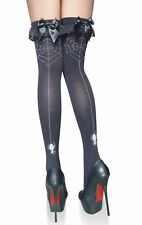 STOCKINGS BLACK LEAGUE FABRIC SPIDER COMPLEMENT COSTUME HALLOWEEN CARNIVAL WOMAN