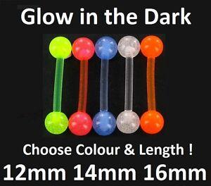 Flexi Tongue Bar - Glow in the Dark - Choose Colour & Length: 12mm 14mm 16mm