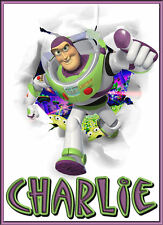 TOY STORY BUZZ LIGHTYEAR PERSONALISED IRON ON TRANSFER IDEAL FOR XMAS STOCKING