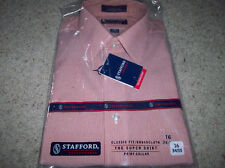 Stafford Mens Dark Orange Stripe 16 Neck 33 Sleeve Dress Shirt NWT NICE !!