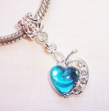 Blue Apple Heart December Birthstone Dangle Bead fits European Charm Bracelets