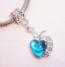 Blue Apple Heart December Birthstone Dangle Bead fits European Charm Bracelets