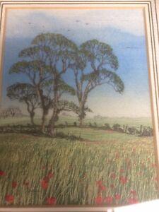 "Pauline Thomas Landscape Picture Hand Signed Entitled ""Poppy"" Silkwork Tapestry"