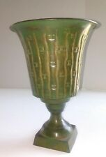 "Green Decorative 11""T Metal Vase Urn Container  Pedestal Bamboo Designed 7.5""D"