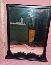 """19c Antique black """"27 x 20"""" Hanging Dresser MIRROR w/Wooden frame"""