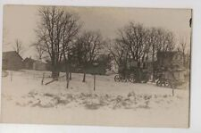 1910 era Tractor & Thresher in snow at farm RPPC