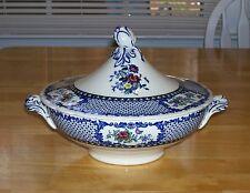 Vintage Royal Cauldon England covered vegetable dish blue white floral china