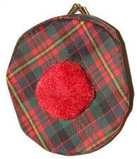 Vintage Cameron Scottish Tartan Print Tam Hat Coin Change Purse Great Britain