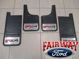 17 thru 20 Super Duty SRW Ford Stainless Splash Guard Mud Flap Set 4-pc FX4 Logo