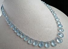 82 CARATS NATURAL BLUE AQUAMARINE TEAR DROPS BEADS NECKLACE WITH SILVER HOOK