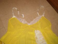 VICTORIA'S SECRET NIGHTGOWN CHIFFON/LACE BABE DOLL 2 PIECE SIZE M yellow color