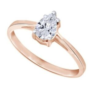 Pear Shape Diamond in Solitaire Bridal Wedding Ring 14kt Rose Gold Over