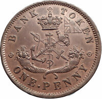 1854 UPPER CANADA Antique UK Queen Victoria Time PENNY BANK TOKEN Coin i74113