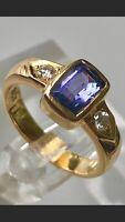 18K Very Fine Vintage Tanzanite Ring With Diamonds