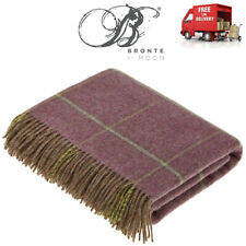 Bronte Kingham Legacy Heather Windowpane New Shetland Wool Blanket Throw Moon