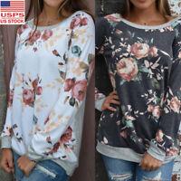 Womens Casual Floral Splicing Print T-Shirt Blouse Sweatshirt Long Sleeve Tops