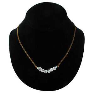 Sheila - Name Necklace Gold Tone Blue Glass - Circa 1950-60