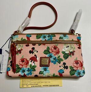 NWT Dooney & Bourke Disney Parks Mickey & Minnie Mouse Floral Pouch Wristlet B