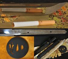 "41""Hand Forged Japanese Samurai Sword Katana FULL TANG Blade Leaf Fan Iron Tsuba"